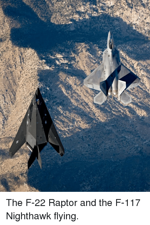 f-22: <p>The F-22 Raptor and the F-117 Nighthawk flying.</p>