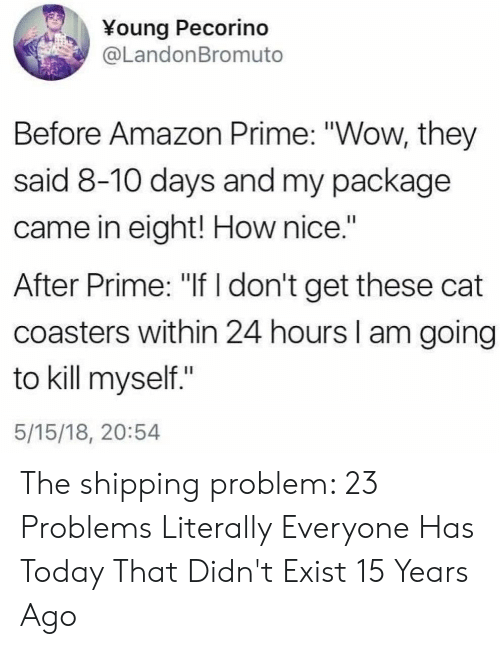 """package: ¥oung Pecorino  @LandonBromuto  Before Amazon Prime: """"Wow, they  said 8-10 days and my package  came in eight! How nice.""""  After Prime: """"If don't get these cat  coasters within 24 hours I am going  to kill myself.""""  5/15/18, 20:54 The shipping problem: 23 Problems Literally Everyone Has Today That Didn't Exist 15 Years Ago"""