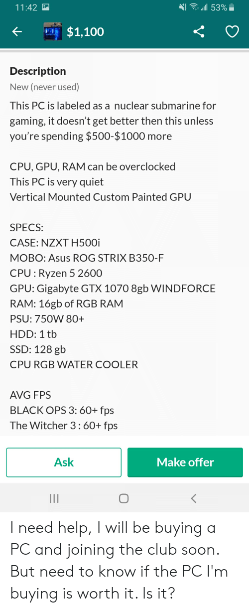 111 53%- 1142 $1100 Description New Never Used This PC Is Labeled as