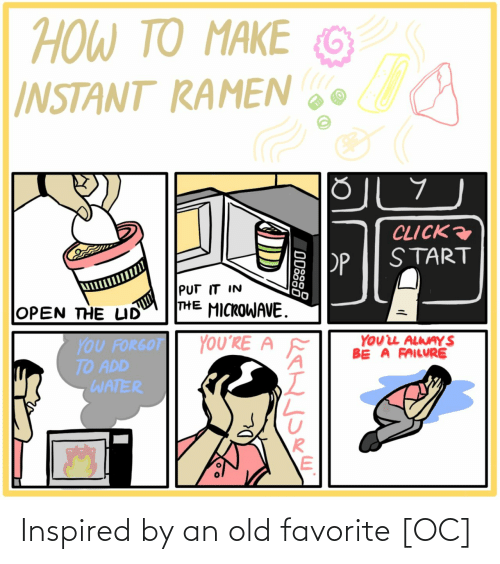 Failure: ΤΟ ΑΚΕ  TO MAKE  HOW TO  G  INSTANT RAMEN  CLICK  START  PP  PUT IT IN  THE MICROWAVE.  OPEN THE LID  YOUL ALWAY S  BE A FAILURE  YOU'RE A  YOU FORGOT  TO ADD  WATER  ODSS8 Inspired by an old favorite [OC]