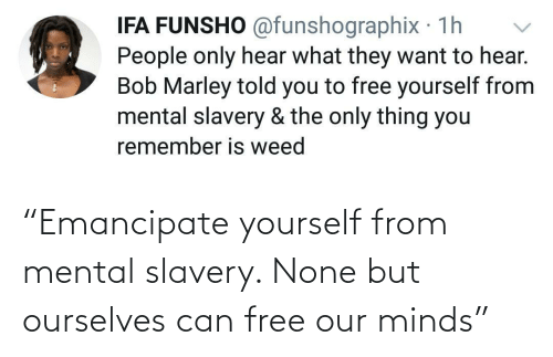 "none: ""Emancipate yourself from mental slavery. None but ourselves can free our minds"""