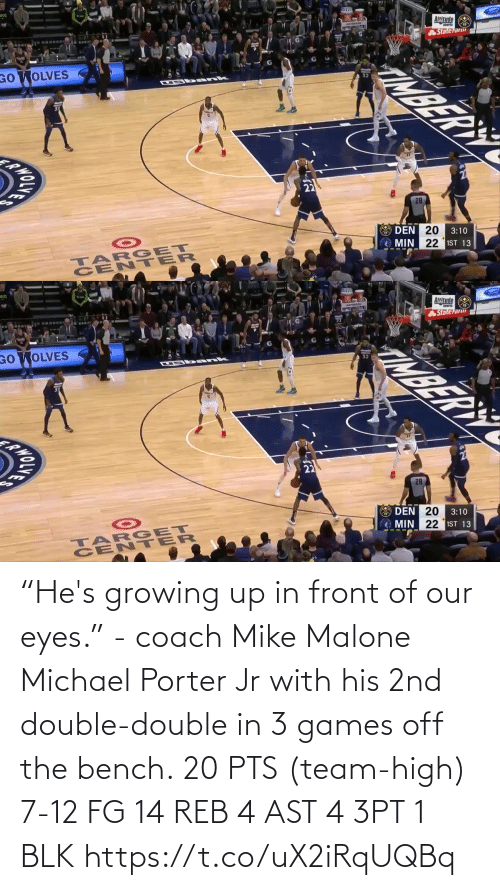 """Off: """"He's growing up in front of our eyes."""" - coach Mike Malone  Michael Porter Jr with his 2nd double-double in 3 games off the bench.  20 PTS (team-high) 7-12 FG  14 REB 4 AST 4 3PT 1 BLK   https://t.co/uX2iRqUQBq"""
