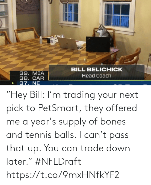 """pass: """"Hey Bill: I'm trading your next pick to PetSmart, they offered me a year's supply of bones and tennis balls. I can't pass that up. You can trade down later."""" #NFLDraft https://t.co/9mxHNfkYF2"""