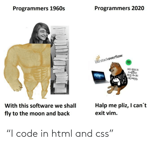 """html: """"I code in html and css"""""""