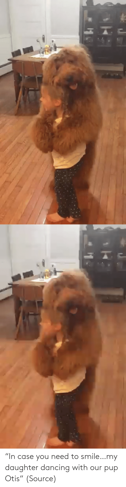 "case: ""In case you need to smile…my daughter dancing with our pup Otis"" (Source)"