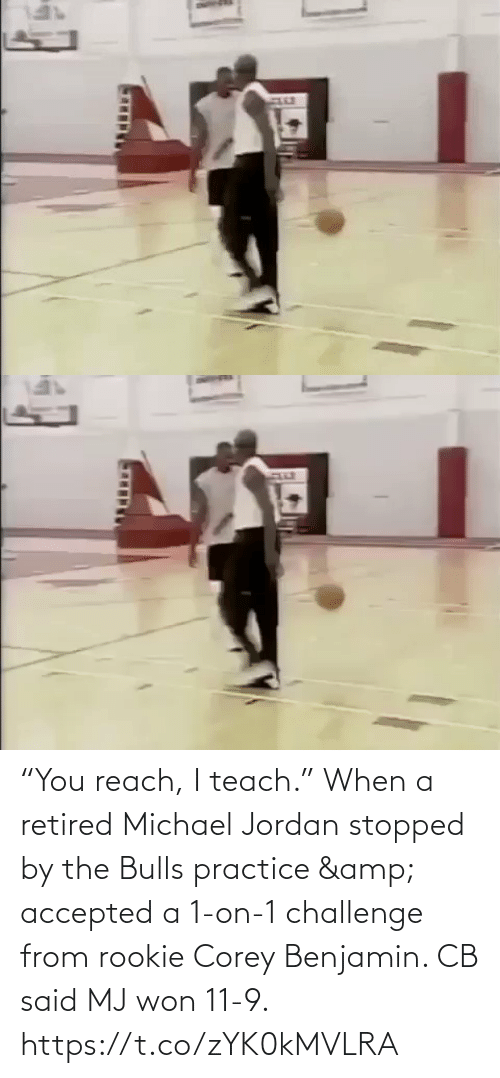 "Practice: ""You reach, I teach.""  When a retired Michael Jordan stopped by the Bulls practice & accepted a 1-on-1 challenge from rookie Corey Benjamin. CB said MJ won 11-9.   https://t.co/zYK0kMVLRA"