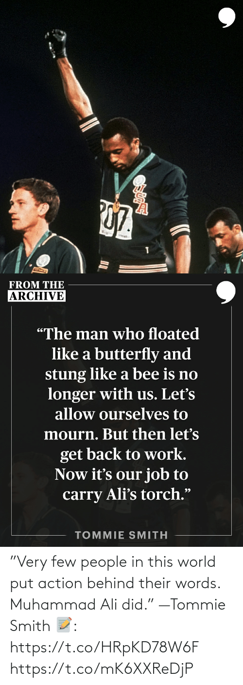 """Smith: """"Very few people in this world put action behind their words. Muhammad Ali did."""" —Tommie Smith   📝: https://t.co/HRpKD78W6F https://t.co/mK6XXReDjP"""
