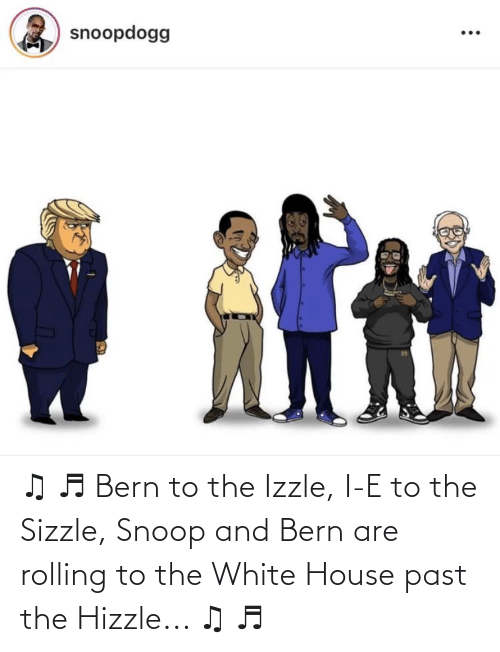 Bernie Sanders: ♫ ♬ Bern to the Izzle, I-E to the Sizzle, Snoop and Bern are rolling to the White House past the Hizzle... ♫ ♬