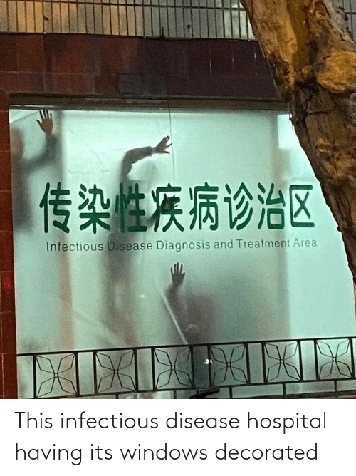 Area: 传染性疾病诊治区  Infectious Disease Diagnosis and Treatment Area  XILIEIEIK This infectious disease hospital having its windows decorated