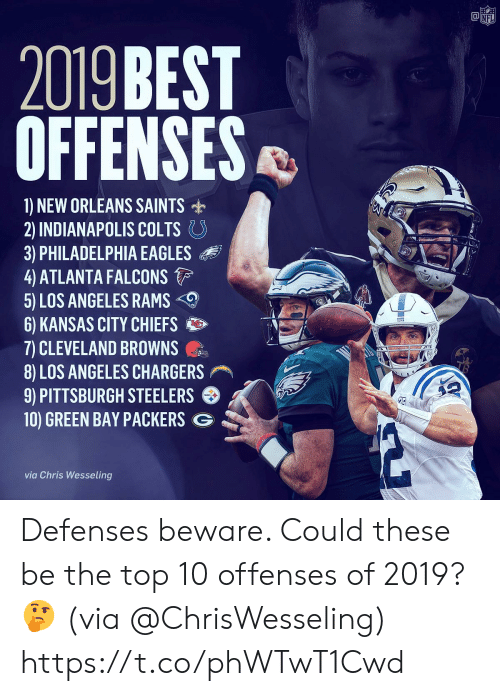 Atlanta Falcons, Cleveland Browns, and Indianapolis Colts: @竈  NF  2019 BEST  OFFENSES  1) NEW ORLEANS SAINTS  2) INDIANAPOLIS COLTS。  3) PHILADELPHIA EAGLES  4 ATLANTA FALCONS  5) LOS ANGELES RAMS  6) KANSAS CITY CHIEFS  7) CLEVELAND BROWNS  8) LOS ANGELES CHARGERS  9) PITTSBURGH STEELERS  10) GREEN BAY PACKERS G  via Chris Wesseling Defenses beware. Could these be the top 10 offenses of 2019? 🤔 (via @ChrisWesseling) https://t.co/phWTwT1Cwd