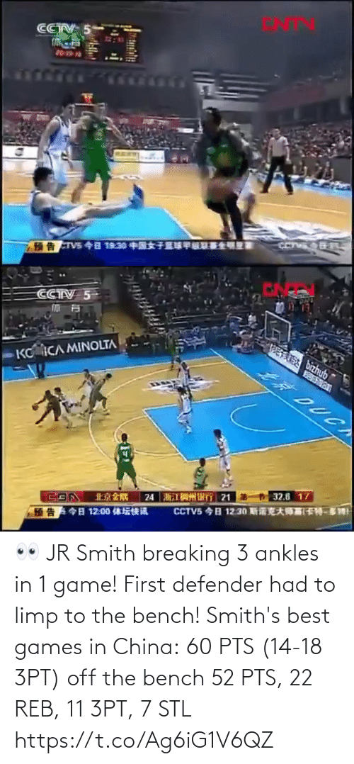 China: 👀 JR Smith breaking 3 ankles in 1 game! First defender had to limp to the bench!   Smith's best games in China: 60 PTS (14-18 3PT) off the bench 52 PTS, 22 REB, 11 3PT, 7 STL https://t.co/Ag6iG1V6QZ