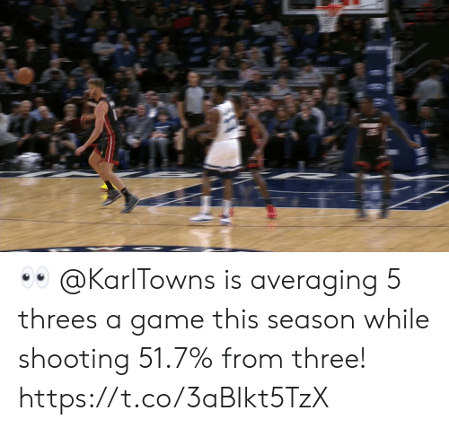 Threes: 👀 @KarlTowns is averaging 5 threes a game this season while shooting 51.7% from three!   https://t.co/3aBIkt5TzX