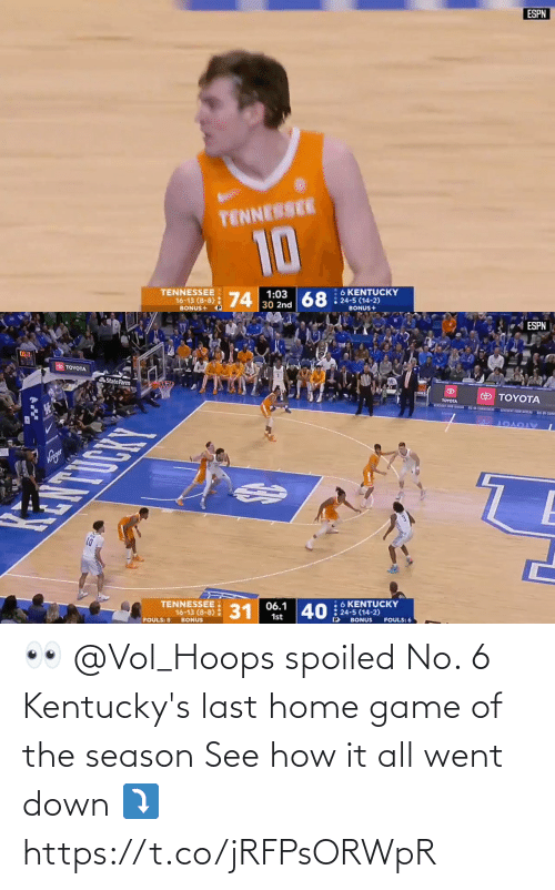 Game: 👀 @Vol_Hoops spoiled No. 6 Kentucky's last home game of the season   See how it all went down ⤵️ https://t.co/jRFPsORWpR