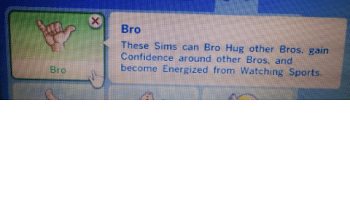 Confidence, Sports, and Sims: 0  Bro  h These Sims can Bro Hug other Bros. gain  Confidence around other Bros, and  become Energized from Watching Sports  Brc