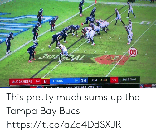 tampa: 05  3RD& GAL  3rd &Goal  3-4 14  05  2nd  4:34  TITANS  BUCCANEERS 2-4 6  NFL  7 00 DTS (62 vns Tn This pretty much sums up the Tampa Bay Bucs https://t.co/aZa4DdSXJR