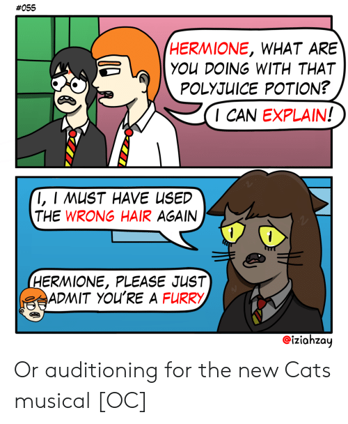 Hermione:  #055  HERMIONE, WHAT ARE  YOU DOING WITH THAT  POLYJUICE POTION?  I CAN EXPLAIN!  I, I MUST HAVE USED  THE WRONG HAIR AGAIN  1  1  HERMIONE, PLEASE JUST  ADMIT YOU'RE A FURRY  iziahzay Or auditioning for the new Cats musical [OC]