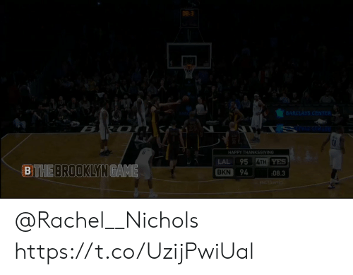 Memes, Thanksgiving, and Brooklyn: 08-3  BARCLAYS CENTER ,  ti  HAPPY THANKSGIVING  LAL 95  BKN 94 :08.3  4TH  YES  BTHE  BROOKLYN  GAME @Rachel__Nichols https://t.co/UzijPwiUal