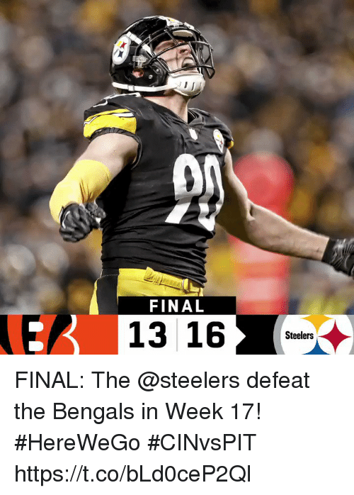 Memes, Bengals, and Steelers: 0A  FINAL  E13 16  Steelers FINAL: The @steelers defeat the Bengals in Week 17! #HereWeGo  #CINvsPIT https://t.co/bLd0ceP2Ql