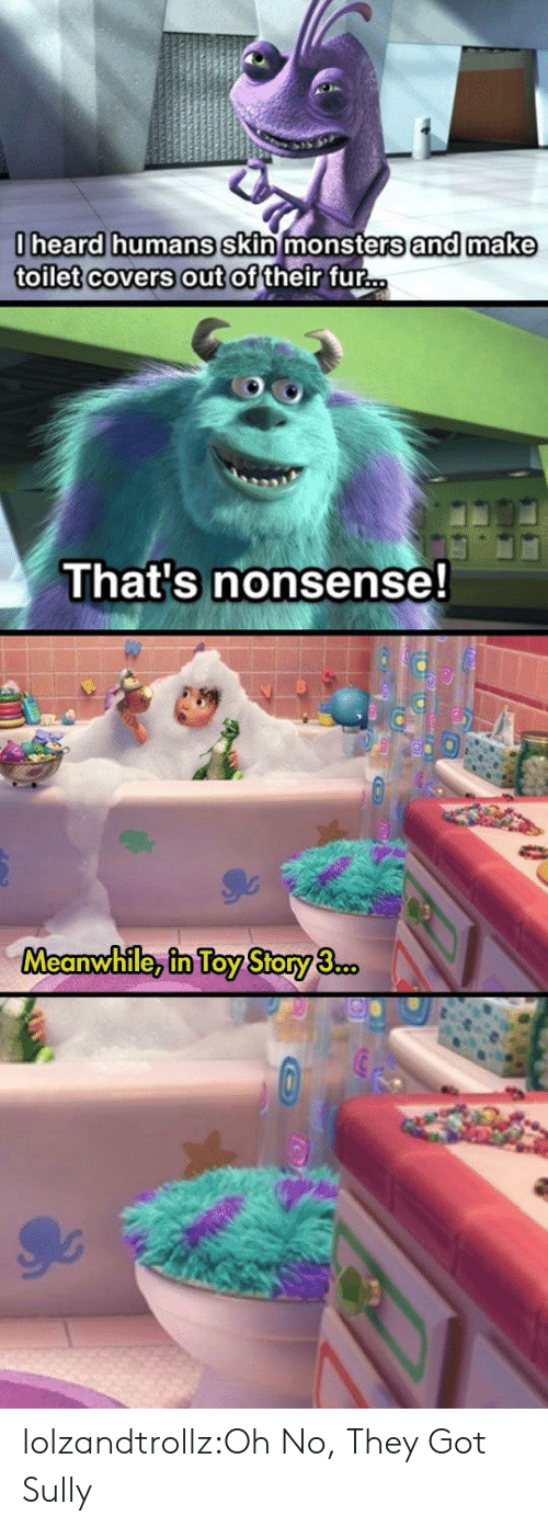 Toy Story: 0heard humans skin monsters and make  toilet covers out of their fur...  That's nonsense!  Meanwhile, in Toy Story 3.co. lolzandtrollz:Oh No, They Got Sully