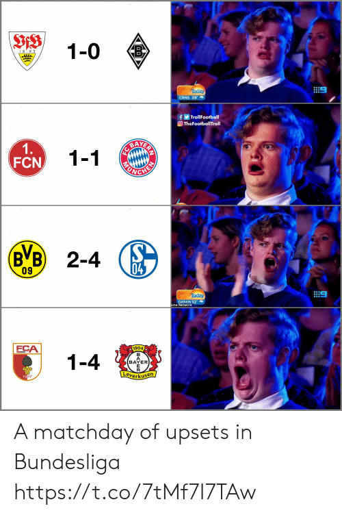 Memes, Today, and 🤖: 1-0  18 9 3  CRNS 29  fTrollFootball  OTheFootballTroll  1.  FCN  1-1  BVB) 2-4  04  09  Today  DARWIN 32  ine Network  FCA  1904  1-4  BAYER  erkuse  19 A matchday of upsets in Bundesliga https://t.co/7tMf7I7TAw