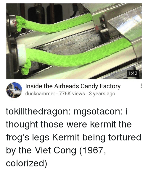 viet cong: 1:42  Inside the Airheads Candy Factory  duckcammer 776K views 3 years ago tokillthedragon:  mgsotacon: i thought those were kermit the frog's legs  Kermit being tortured by the Viet Cong (1967, colorized)