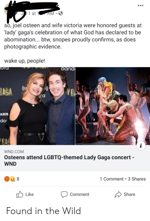 God, Lady Gaga, and Joel Osteen: 1 at 1  AM  so, joel osteen and wife victoria were honored guests at  lady' gaga's celebration of what God has declared to be  abomination... btw, snopes proudly confirms, as does  photographic evidence.  wake up, people!  ora  band  BAGA  VG  ra  sxn  do  i  WND.COM  Osteens attend LGBTQ-themed Lady Gaga concert -  WND  1 Comment 3 Shares  Like  Share  Comment Found in the Wild