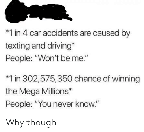 "you never know: *1 in 4 car accidents are caused by  texting and driving*  People: ""Won't be me.""  1 in 302,575,350 chance of winning  the Mega Millions*  People: ""You never know."" Why though"