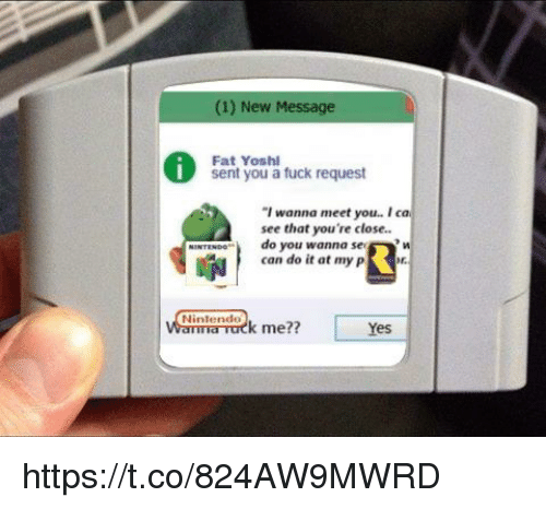 """Nintendo, Yoshi, and Fat: (1) New Message  Sent Your's tuck request  Fat Yoshi  I wanna meet you.. I ca  see that you're close.  do you wanna se  can do it at my p  HINTINee""""  и  申  Nintendo https://t.co/824AW9MWRD"""