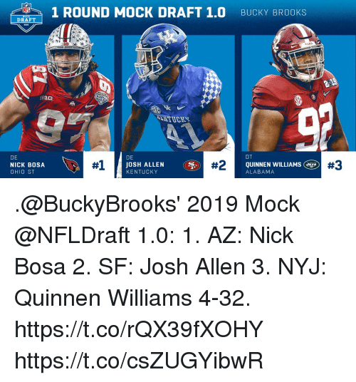 Memes, Alabama, and Kentucky: 1 ROUND MOCK DRAFT 1.0 BUCKY BROOKS  BI0  NITUCKS  ST  DE  NICK BOSA  OHIO ST  DE  #1  JOSH ALLEN  KENTUCKY  QUINNEN WILLIAMS  #3  ALABAMA .@BuckyBrooks' 2019 Mock @NFLDraft 1.0:  1. AZ: Nick Bosa 2. SF: Josh Allen 3. NYJ: Quinnen Williams 4-32. https://t.co/rQX39fXOHY https://t.co/csZUGYibwR