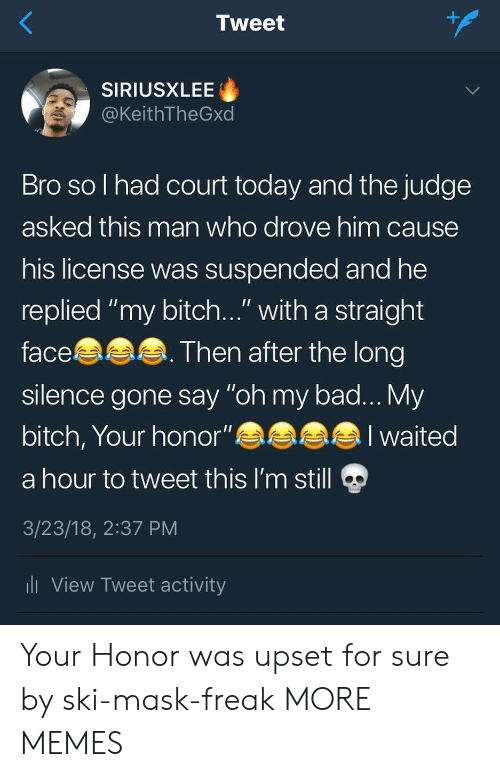 """Ali, Bad, and Bitch: 1  Tweet  SIRIUSXLEE  @KeithTheGxd  Bro so l had court today and the judge  asked this man who drove him cause  his license was suspended and he  replied """"my bitch..."""" with a straight  face  silence gone say """"oh my bad... My  bitch, Your honor""""eaa  a hour to tweet this I'm still  3/23/18, 2:37 PM  li View Tweet activity  Then after the long  alI waited Your Honor was upset for sure by ski-mask-freak MORE MEMES"""