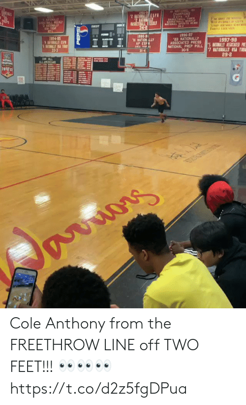 Memes, 🤖, and Feet: 10  1996-97  NATIONALLY  934-95  1997-98  ASSOCIATED PR ESSLY ASSICATESP  AP ESFN  NATIONAL PREP POLL  30-5  33-3  29-2 Cole Anthony from the FREETHROW LINE off TWO FEET!!! 👀👀👀 https://t.co/d2z5fgDPua