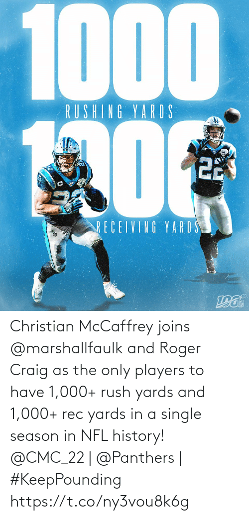 History: 1000  RUSHING YARDS  22  RECEIVING YARD S Christian McCaffrey joins @marshallfaulk and Roger Craig as the only players to have 1,000+ rush yards and 1,000+ rec yards in a single season in NFL history!  @CMC_22 | @Panthers | #KeepPounding https://t.co/ny3vou8k6g