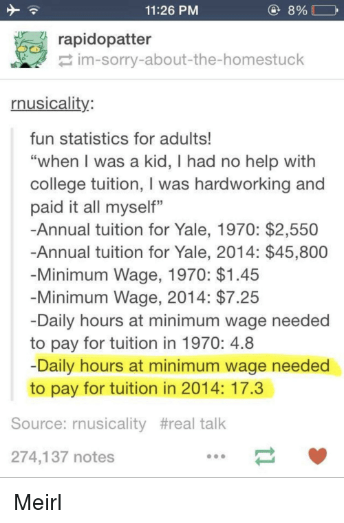 "College, Sorry, and Help: 11:26 PM  8%  rapidopatter  im-sorry-about-the-homestuck  rnusicality  fun statistics for adults!  ""when l was a kid, I had no help with  college tuition, I was hardworking and  paid it all myself""  -Annual tuition for Yale, 1970: $2,550  Annual tuition for Yale, 2014: $45,800  Minimum Wage, 1970: $1.45  Minimum Wage, 2014: $7.25  Daily hours at minimum wage needed  to pay for tuition in 1970: 4.8  Daily hours at minimum wage needed  to pay for tuition in 2014: 17.3  Source: rnusicality #real talk  274,137 notes Meirl"