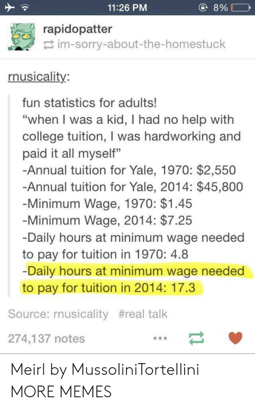 "College, Dank, and Memes: 11:26 PM  8%  rapidopatter  im-sorry-about-the-homestuck  rnusicality  fun statistics for adults!  ""when l was a kid, I had no help with  college tuition, I was hardworking and  paid it all myself""  -Annual tuition for Yale, 1970: $2,550  Annual tuition for Yale, 2014: $45,800  Minimum Wage, 1970: $1.45  Minimum Wage, 2014: $7.25  Daily hours at minimum wage needed  to pay for tuition in 1970: 4.8  Daily hours at minimum wage needed  to pay for tuition in 2014: 17.3  Source: rnusicality #real talk  274,137 notes Meirl by MussoIiniTorteIIini MORE MEMES"