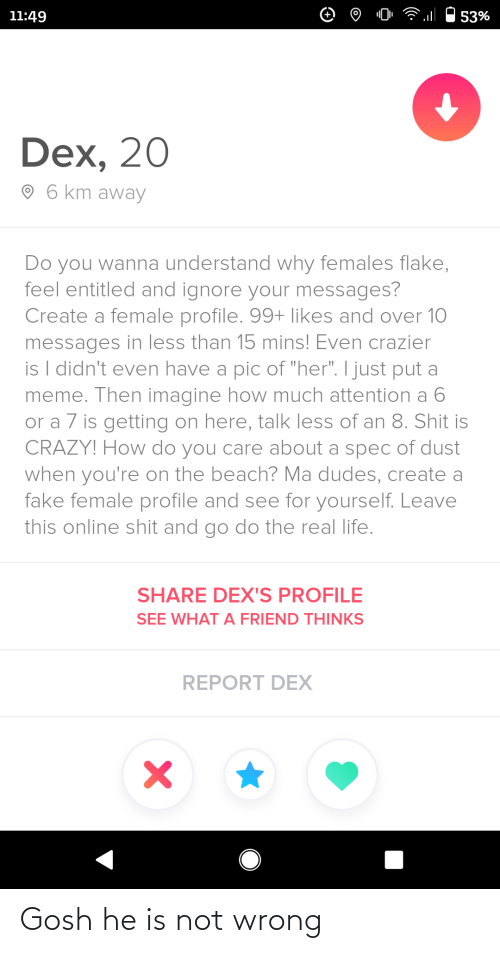 "then: 11:49  53%  Dex, 20  O 6 km away  Do you wanna understand why females flake,  feel entitled and ignore your messages?  Create a female profile. 99+ likes and over 10  messages in less than 15 mins! Even crazier  is I didn't even have a pic of ""her"". I just put a  meme. Then imagine how much attention a 6  or a 7 is getting on here, talk less of an 8. Shit is  CRAZY! How do you care about a spec of dust  when you're on the beach? Ma dudes, create a  fake female profile and see for yourself. Leave  this online shit and go do the real life.  SHARE DEX'S PROFILE  SEE WHAT A FRIEND THINKS  REPORT DEX Gosh he is not wrong"