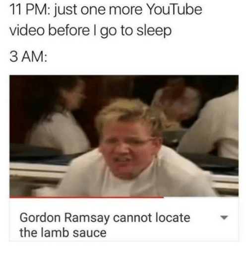 Go to Sleep, Gordon Ramsay, and youtube.com: 11 PM: just one more YouTube  video before l go to sleep  3 AM:  Gordon Ramsay cannot locate  the lamb sauce