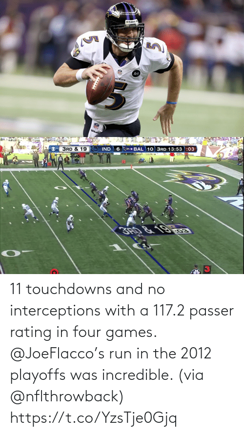 Run: 11 touchdowns and no interceptions with a 117.2 passer rating in four games.  @JoeFlacco's run in the 2012 playoffs was incredible. (via @nflthrowback) https://t.co/YzsTje0Gjq