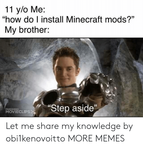 "Dank, Memes, and Minecraft: 11 y/o Me:  ""how do I install Minecraft mods?""  My brother:  ""Step aside""  FANDANGO  MOVIECLIPS Let me share my knowledge by obi1kenovoitto MORE MEMES"