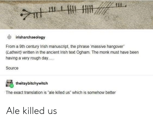 Irish, Tumblr, and Hangover: 111  irisharchaeology  From a 9th century Irish manuscript, the phrase 'massive hangover  (Latheirt) written in the ancient Irish text Ogham. The monk must have been  having a very rough day..  Source  theitsybitchywitch  The exact translation is ale killed us which is somehow better Ale killed us