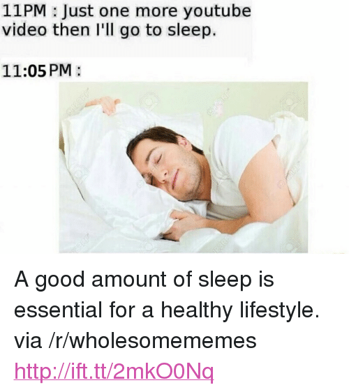 """Go to Sleep, youtube.com, and Good: 11PM : Just one more youtube  video then I'll go to sleep.  11:05 PM: <p>A good amount of sleep is essential for a healthy lifestyle. via /r/wholesomememes <a href=""""http://ift.tt/2mkO0Nq"""">http://ift.tt/2mkO0Nq</a></p>"""