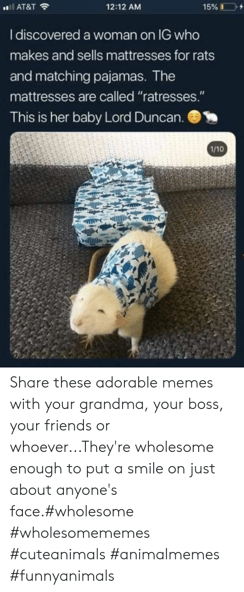 """Friends, Grandma, and Memes: 12:12 AM  AT&T  I discovered a woman on IG who  makes and sells mattresses for rats  and matching pajamas. The  mattresses are called """"ratresses.""""  This is her baby Lord Duncan.  1/10 Share these adorable memes with your grandma, your boss, your friends or whoever...They're wholesome enough to put a smile on just about anyone's face.#wholesome #wholesomememes #cuteanimals #animalmemes #funnyanimals"""
