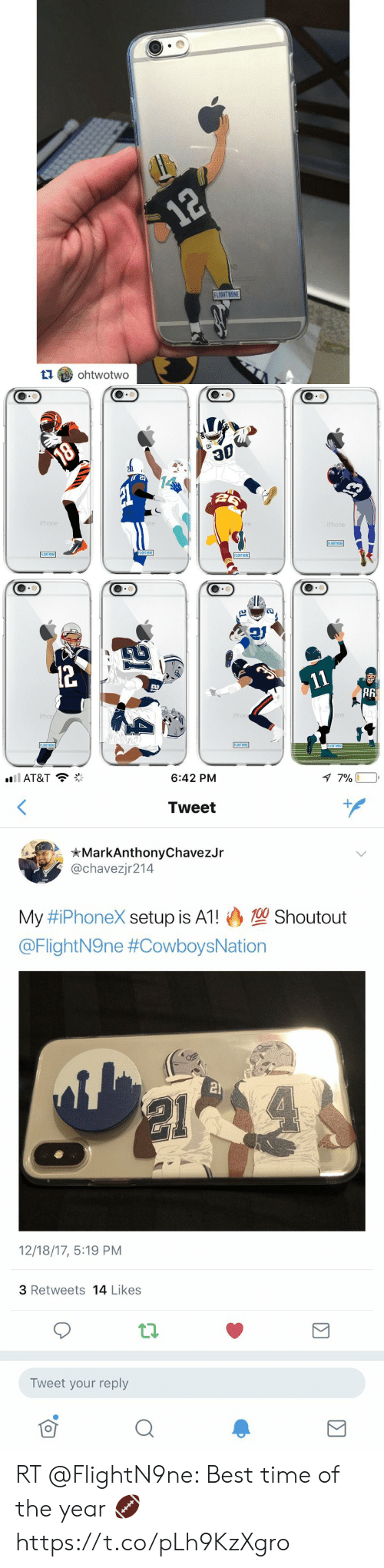 Basketball, Iphone, and White People: 12  12  e  FLIGHT NONE  ohtwotwo   18  iPhone  one  one  iPhone  FLIGHT NONE  FLIGHT N9NE  FLIGHT NSNE  FLIGHT NONE  12  11  iPhon  iPhone  one  FLIGHTN9NE  FLIGHTN9NE  FLIGHT N9NE   7 7%  ll AT&T  6:42 PM  Tweet  MarkAnthonyChavezJr  @chavezjr214  100 Shoutout  My #iPhoneX setup is A1!  @FlightN9ne #CowboysNation  21  12/18/17, 5:19 PM  3 Retweets 14 Likes  Tweet your reply RT @FlightN9ne: Best time of the year 🏈 https://t.co/pLh9KzXgro