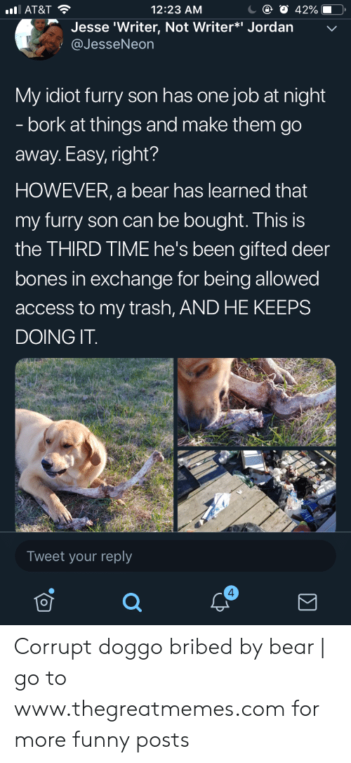 """Bones, Deer, and Funny: 12:23 AM  AT&T  Jesse 'Writer, Not Writer*"""" Jordan  @JesseNeon  My idiot furry son has one job at night  - bork at things and make them go  away. Easy, right?  HOWEVER, a bear has learned that  my furry son can be bought. This is  the THIRD TIME he's been gifted deer  bones in exchange for being allowed  access to my trash, AND HE KEEPS  DOING IT  Tweet your reply  4 Corrupt doggo bribed by bear 
