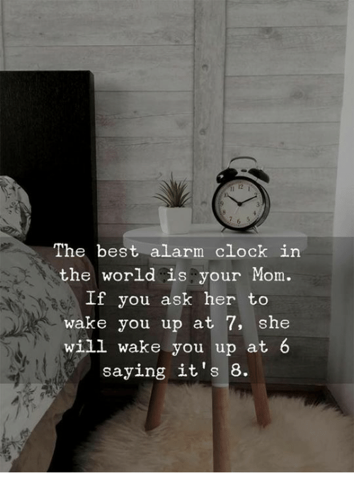 Clock, Alarm, and Alarm Clock: 12  The best alarm clock in  the world is your Mom.  If you ask her to  wake you up at 7, she  will wake you up at  saying it's 8.