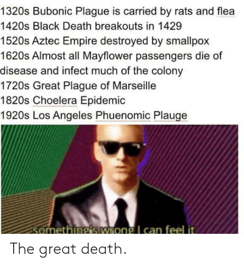Empire: 1320s Bubonic Plague is carried by rats and flea  1420s Black Death breakouts in 1429  1520s Aztec Empire destroyed by smallpox  1620s Almost all Mayflower passengers die of  disease and infect much of the colony  1720s Great Plague of Marseille  1820s Choelera Epidemic  1920s Los Angeles Phuenomic Plauge  somethings wrong I can feel it The great death.