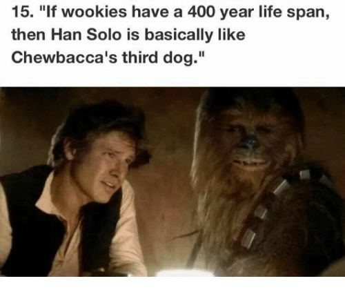 """Han Solo: 15. """"If wookies have a 400 year life span,  then Han Solo is basically like  Chewbacca's third dog."""""""