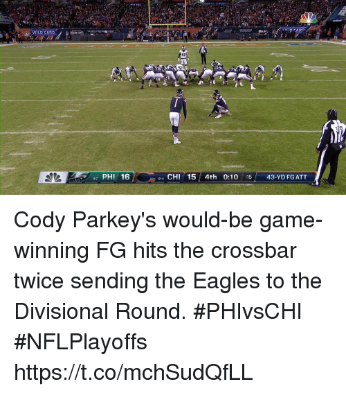 Philadelphia Eagles, Memes, and Game: 17  128  97 PHI 16  12-4 CHI5 4th 0:10 :1543-YD FG ATT Cody Parkey's would-be game-winning FG hits the crossbar twice sending the Eagles to the Divisional Round. #PHIvsCHI #NFLPlayoffs https://t.co/mchSudQfLL