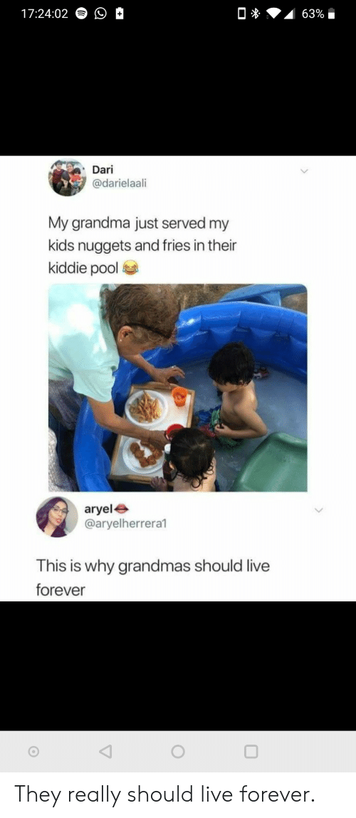 Grandma, Forever, and Kids: 17:24:02  63%  Dari  @darielaali  My grandma just served my  kids nuggets and fries in their  kiddie pool  aryele  @aryelherrera1  This is why grandmas should live  forever They really should live forever.