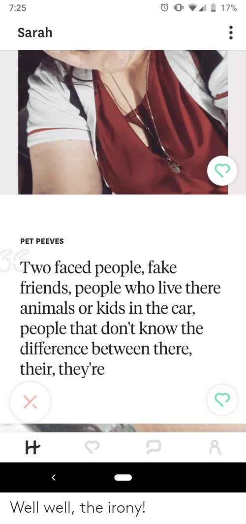 Two Faced People: | | 17%  7:25  Sarah  PET PEEVES  Two faced people, fake  friends, people who live there  animals or kids in the car,  people that don't know the  difference between there,  their, they're Well well, the irony!