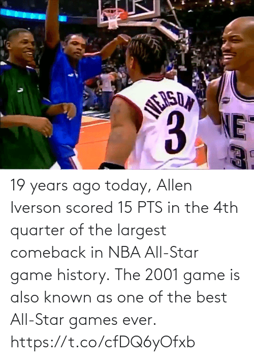 🤖: 19 years ago today, Allen Iverson scored 15 PTS in the 4th quarter of the largest comeback in NBA All-Star game history.  The 2001 game is also known as one of the best All-Star games ever.    https://t.co/cfDQ6yOfxb